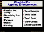 checklist for aspiring entrepreneurs