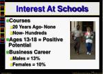 interest at schools