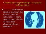 correlazione dei segni radiologici col quesito problema clinico