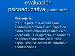 aplicaciones de la evaluaci n psicoeducativa continuaci n