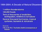 1994 2004 a decade of natural disasters