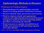 epidemiologic methods in disasters6