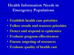 health information needs in emergency populations
