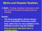 myths and disaster realities