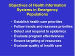 objectives of health information systems in emergency populations