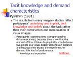 tacit knowledge and demand characteristics