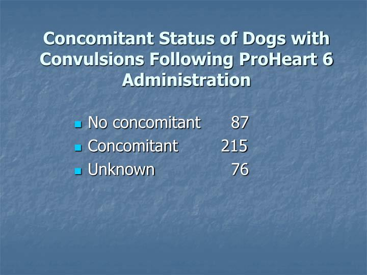 Concomitant Status of Dogs with Convulsions Following ProHeart 6 Administration