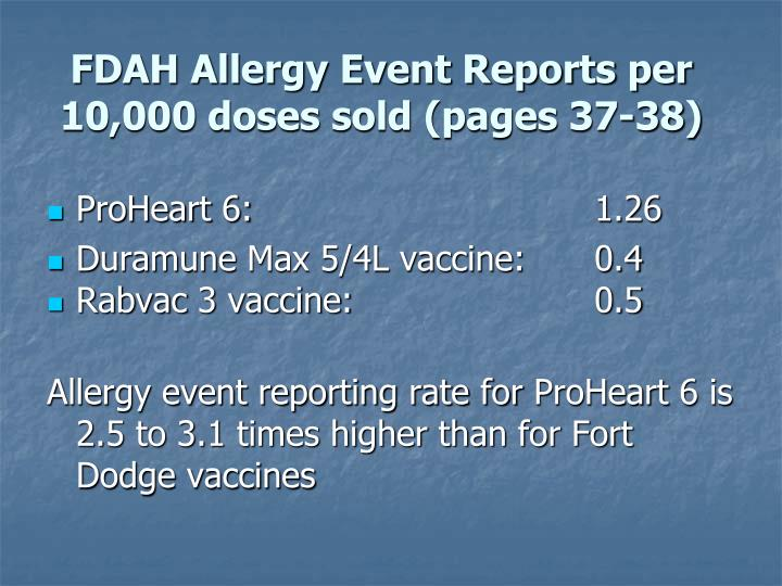 FDAH Allergy Event Reports per 10,000 doses sold (pages 37-38)