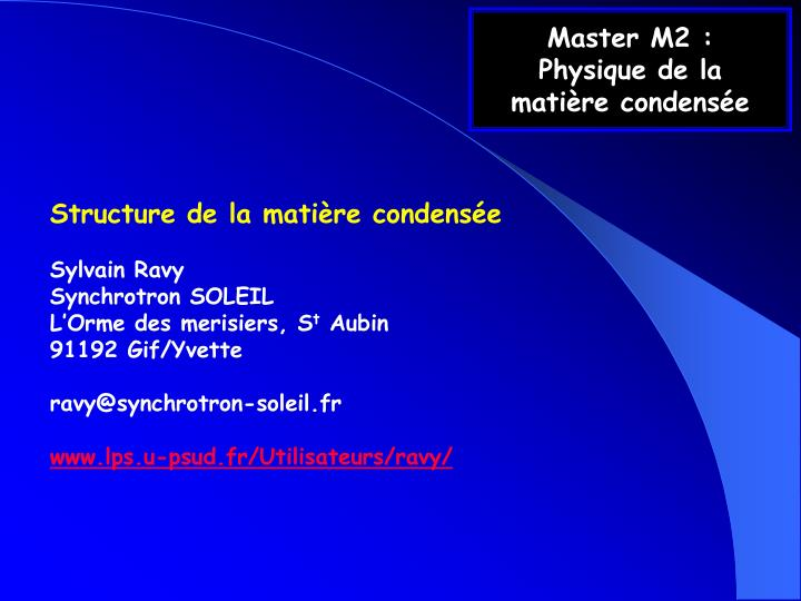 master m2 physique de la mati re condens e n.