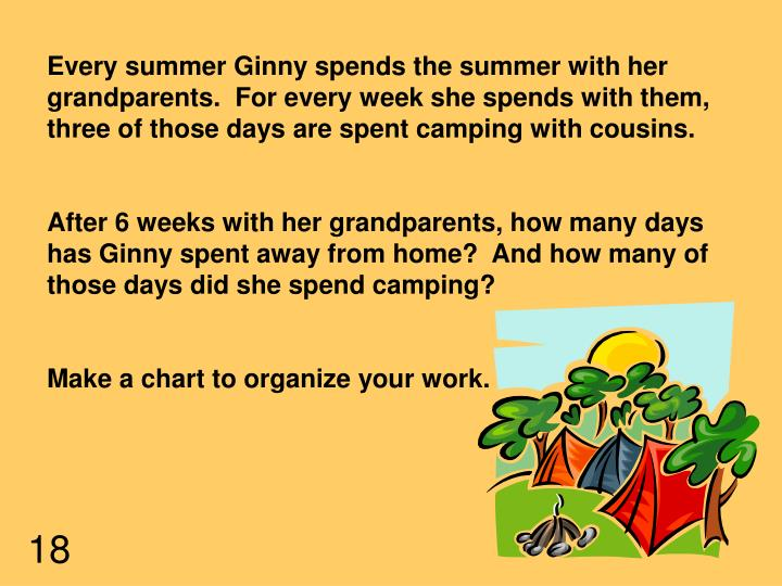 Every summer Ginny spends the summer with her grandparents.  For every week she spends with them, three of those days are spent camping with cousins.