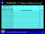 topoff 2 data collector log