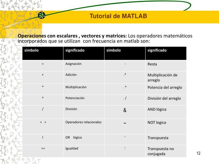 Operaciones con escalares , vectores y matrices: