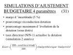 simulations d ajustement budgetaire 4 param tres 31
