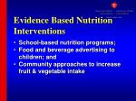 evidence based nutrition interventions