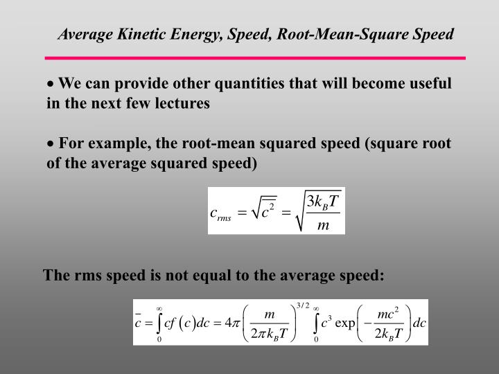 Average Kinetic Energy, Spe
