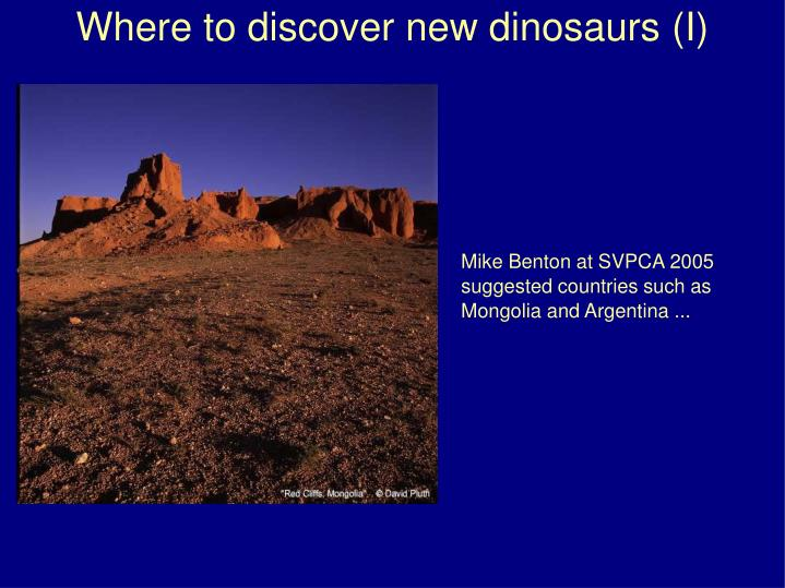Where to discover new dinosaurs (I)