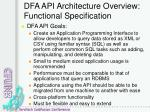 dfa api architecture overview functional specification