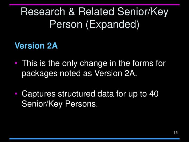 Research & Related Senior/Key Person (Expanded)