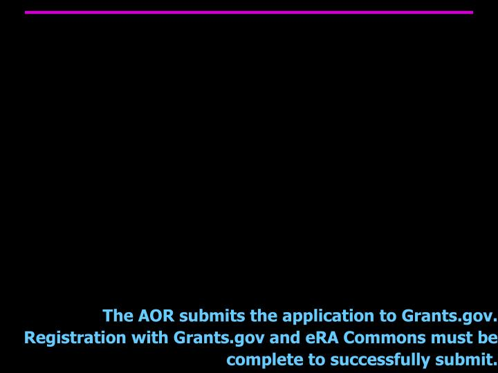 The AOR submits the application to Grants.gov.  Registration with Grants.gov and eRA Commons must be complete to successfully submit.