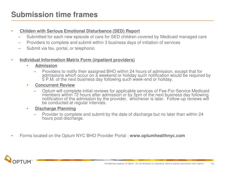 Submission time frames