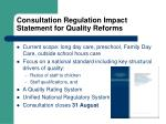 consultation regulation impact statement for quality reforms