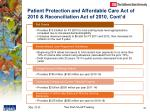patient protection and affordable care act of 2010 reconciliation act of 2010 cont d1