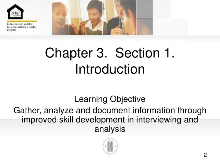 Chapter 3 section 1 introduction