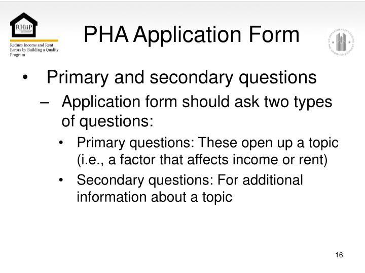 PHA Application Form