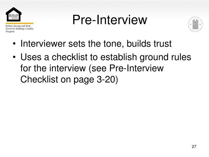 Pre-Interview