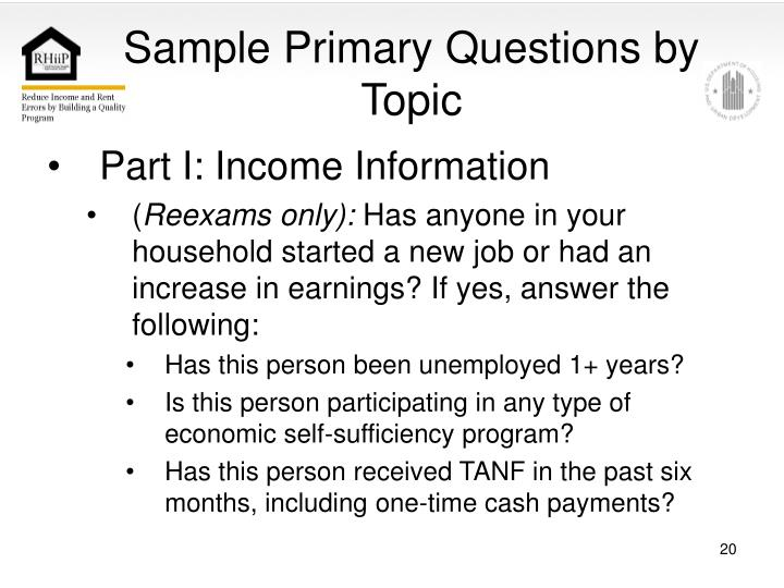 Sample Primary Questions by Topic