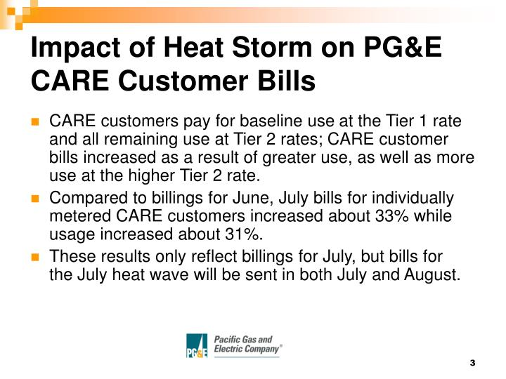 Impact of heat storm on pg e care customer bills