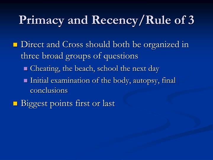 Primacy and Recency/Rule of 3