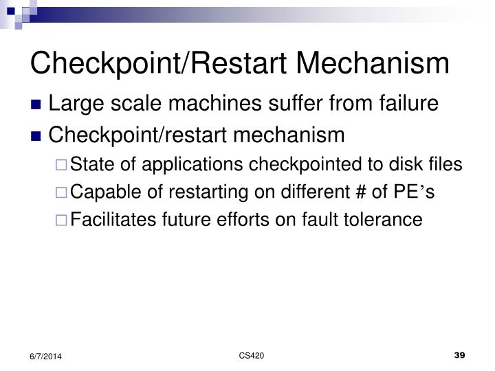 Checkpoint/Restart Mechanism