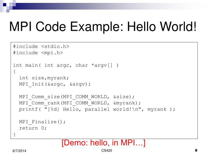 MPI Code Example: Hello World!