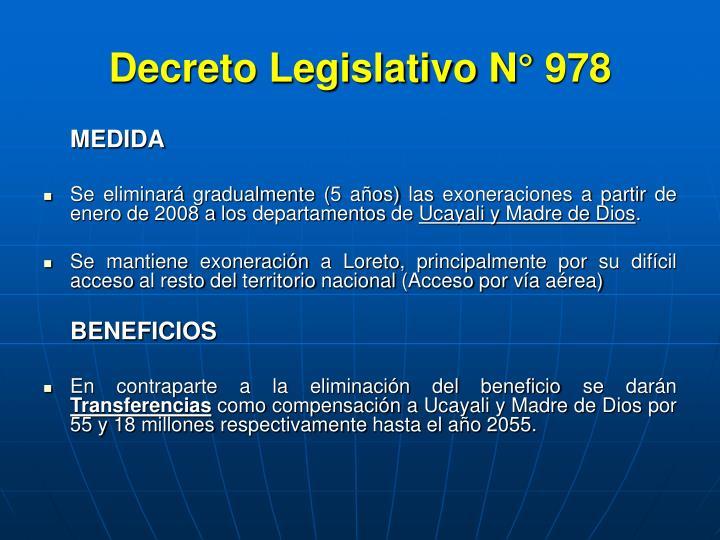 Decreto Legislativo N° 978
