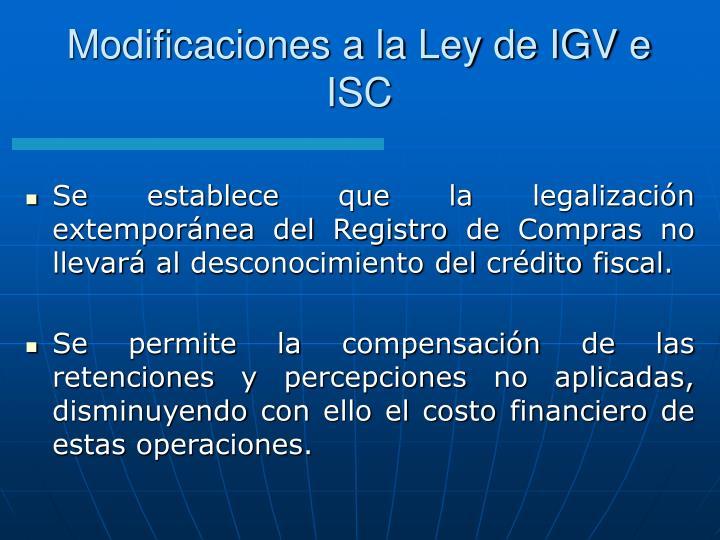 Modificaciones a la Ley de IGV e ISC