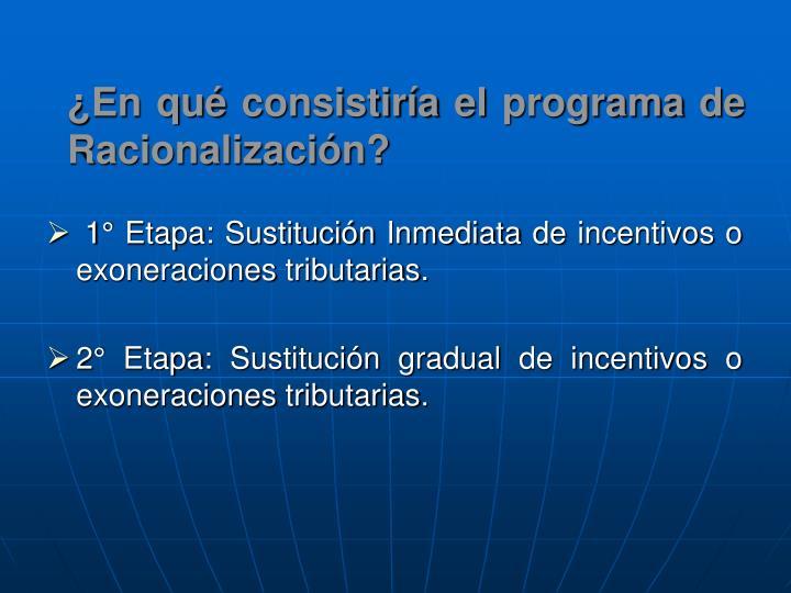 ¿En qué consistiría el programa de Racionalización?
