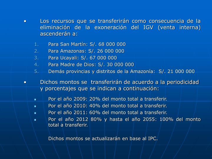Los recursos que se transferirán como consecuencia de la eliminación de la exoneración del IGV (venta interna) ascenderán a: