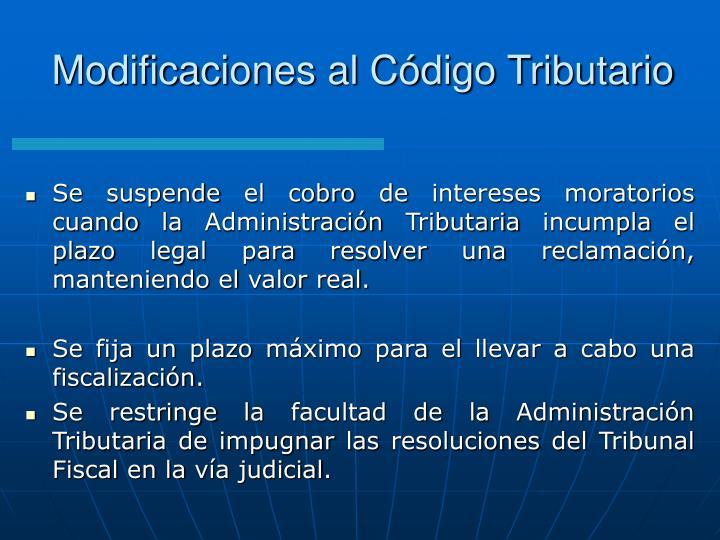 Modificaciones al Código Tributario