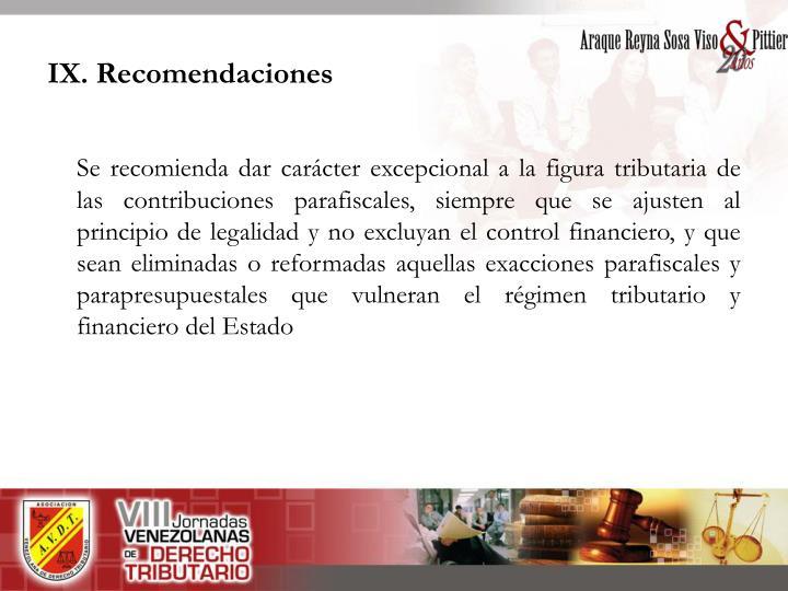 IX. Recomendaciones