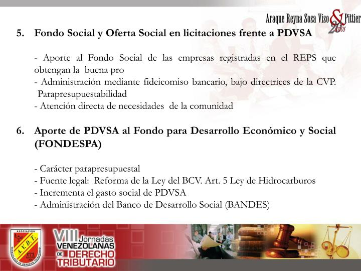 5. Fondo Social y Oferta Social en licitaciones frente a PDVSA