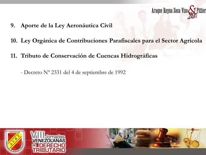9. Aporte de la Ley Aeronáutica Civil