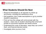 what students should do next