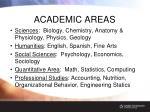 academic areas