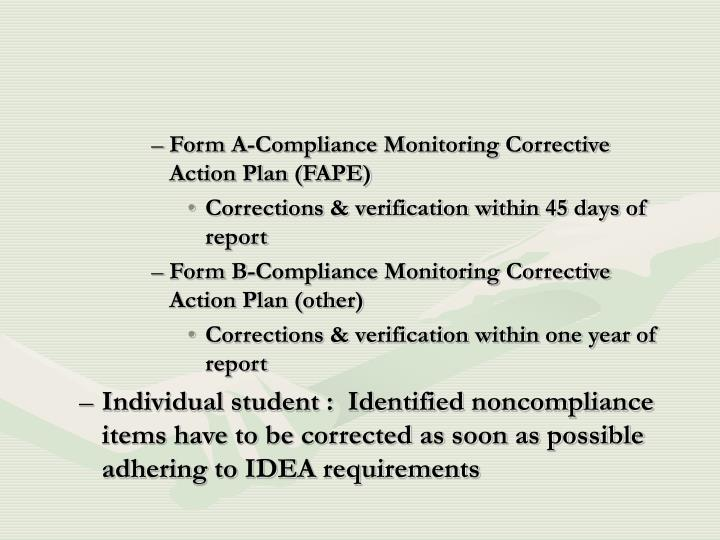 Form A-Compliance Monitoring Corrective Action Plan (FAPE)