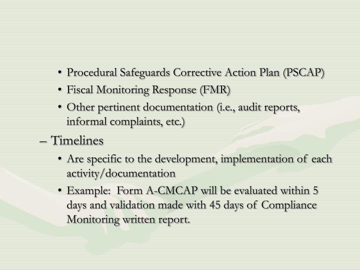 Procedural Safeguards Corrective Action Plan (PSCAP)