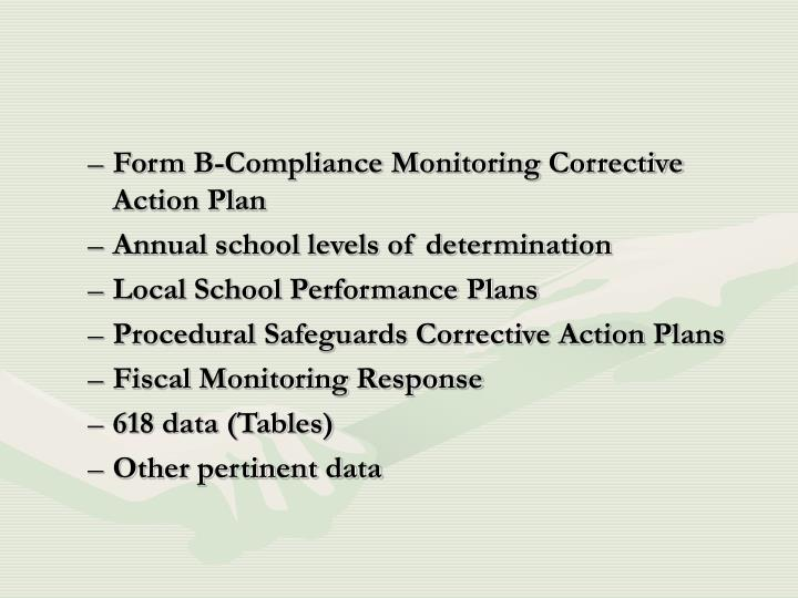 Form B-Compliance Monitoring Corrective Action Plan