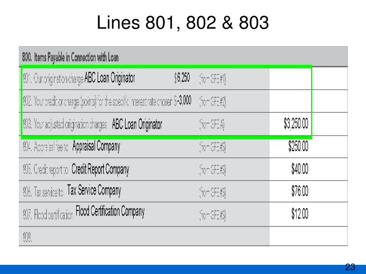 Lines 801, 802 & 803