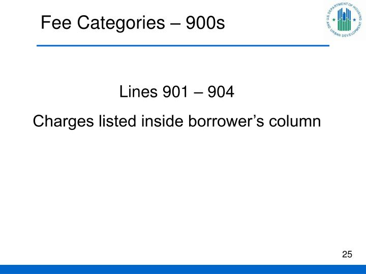 Fee Categories – 900s