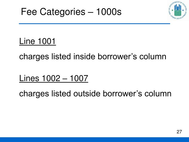 Fee Categories – 1000s
